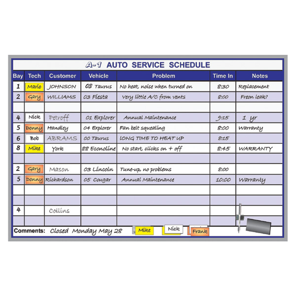 automobile service scheduling whiteboard kit