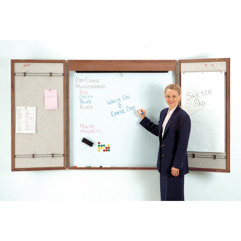 cabinet style whiteboard with optional projection screen