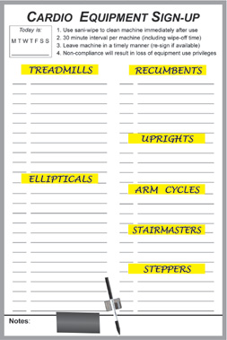 exercise equipment sign-up dry erase board