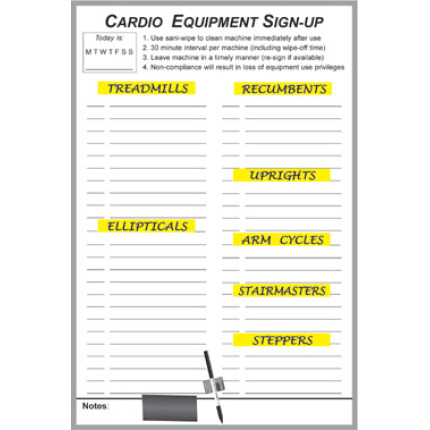 exercise equipment sign up dry erase board