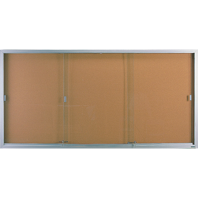 sliding door bulletin board cabinet