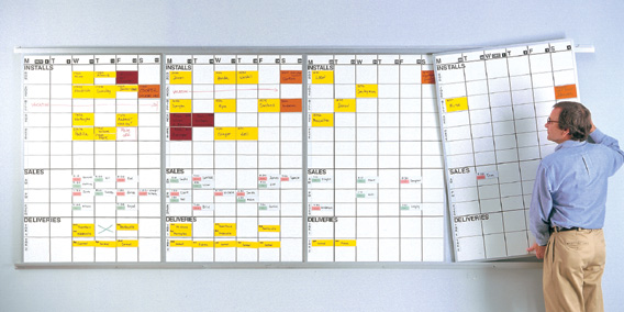 rotating lift-out job schedule whiteboard panels