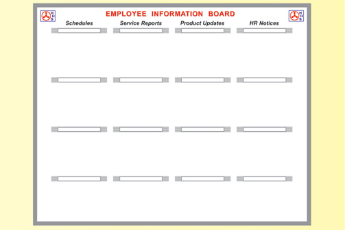 service business employee dry erase board