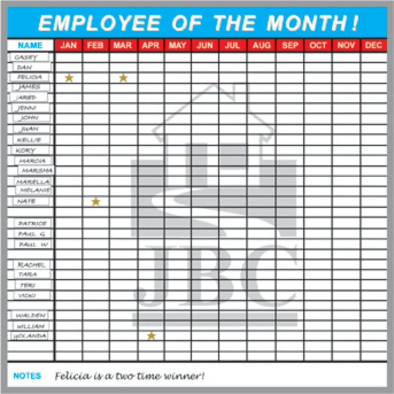 employee of the month recognition whiteboard