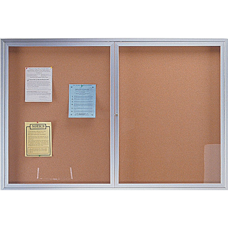 enclosed clear doors cabinet bulletin board