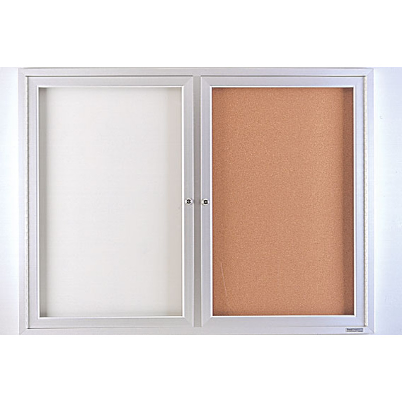 Enclosed Whiteboard Cork Board Cabinet With Folding Doors