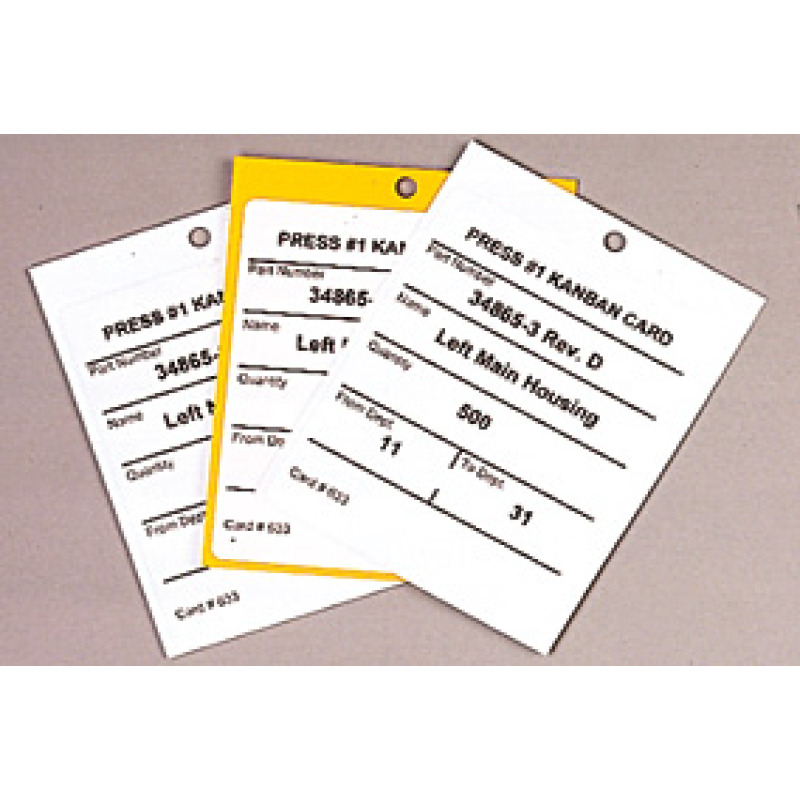 three custom label hanging kanban cards