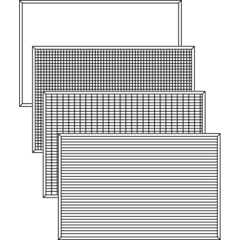 plain, gridded and lined magnetic whiteboard panels