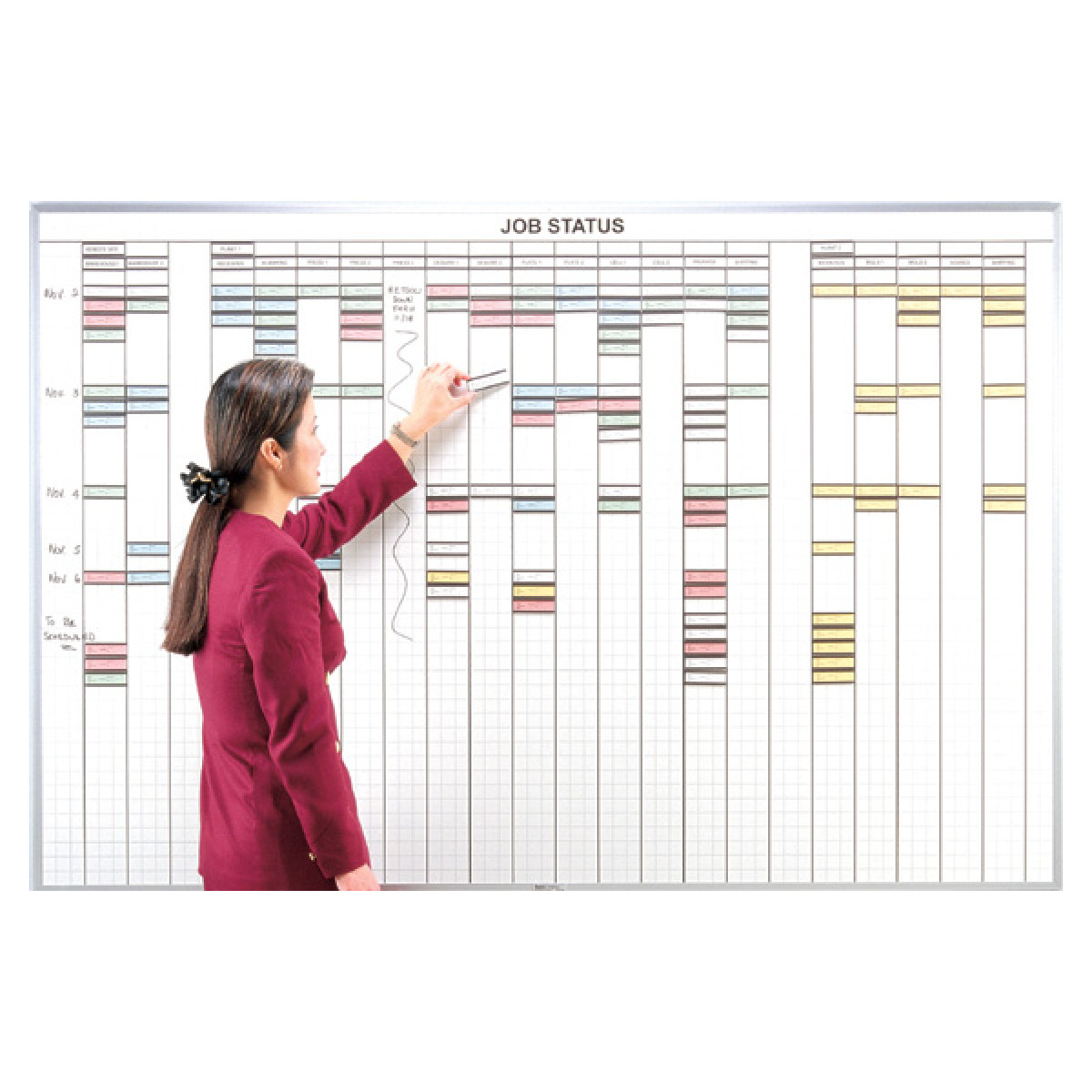 multi-purpose control whiteboard with 1x3 grid