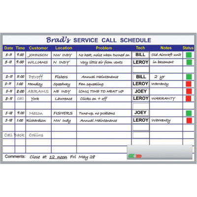 service scheduling board kit