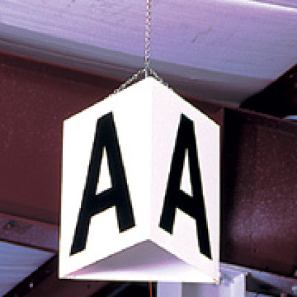 triangular hanging sign with 3 viewing sides