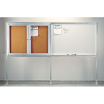 bulletin board and whiteboard display center with floor mount