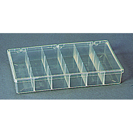 plastic storage box with six compartments