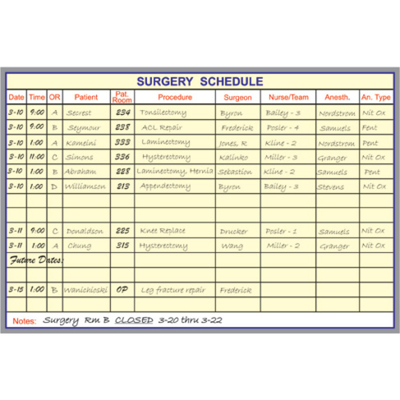 surgery scheduling board kit