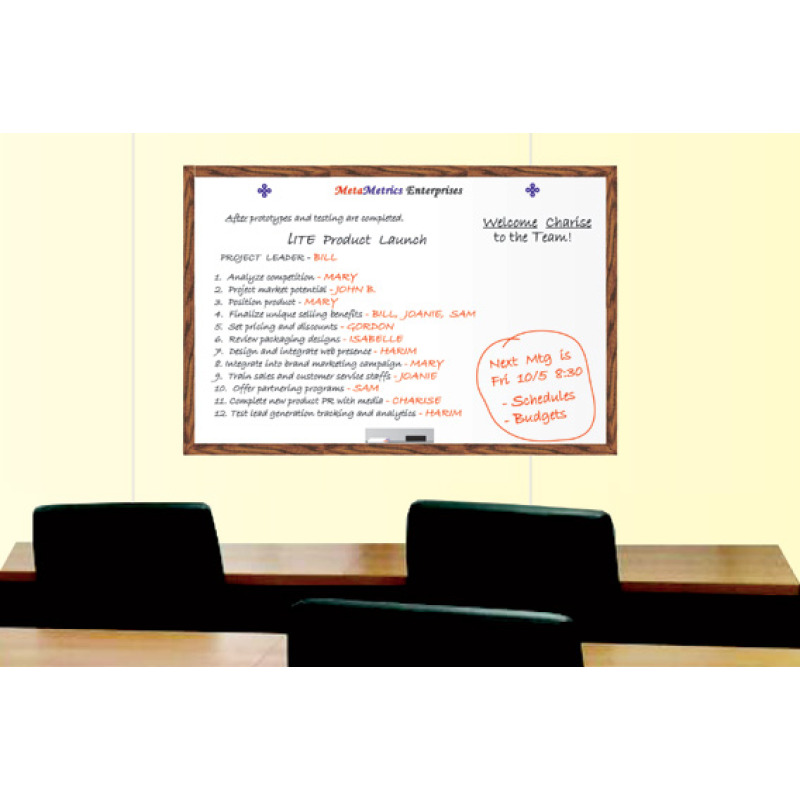 meeting room board with wood frame