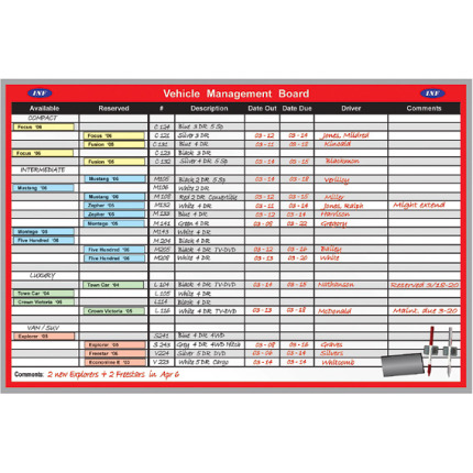 vehicle reservation scheduling board kit