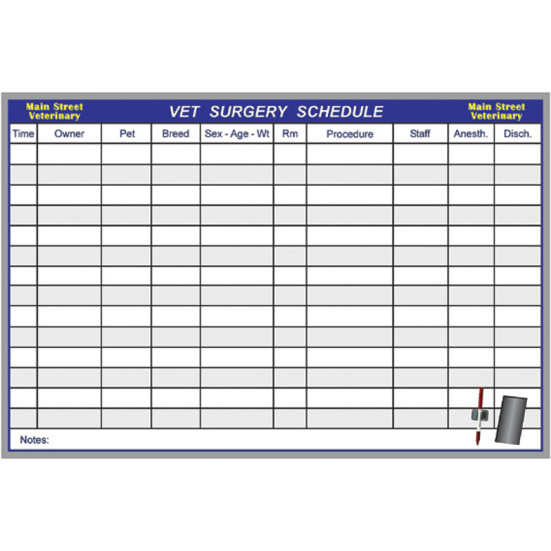 pet surgery schedules for vets