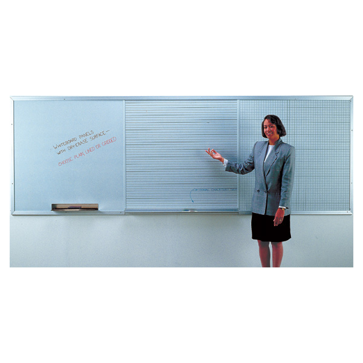 three whiteboard panels mounted on a wall